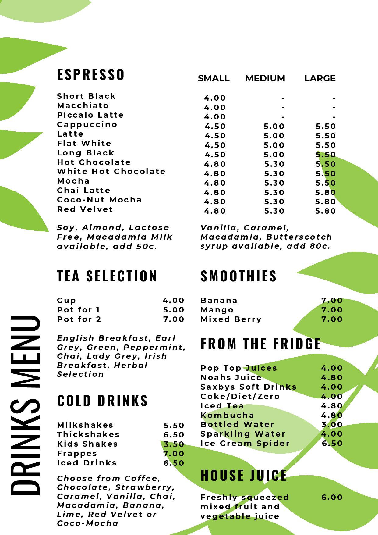 Medowie Macadamias' drinks, cold drinks, dessert menu